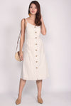 Halen Pinstripes Faux Buttons Linen Dress In Cream