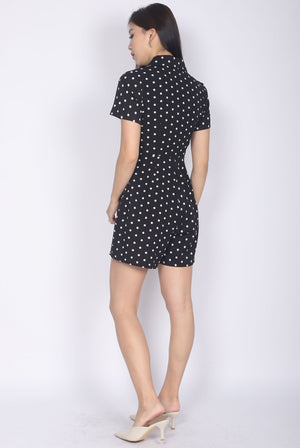 Halley Buttons Sleeved Romper In Black Dots