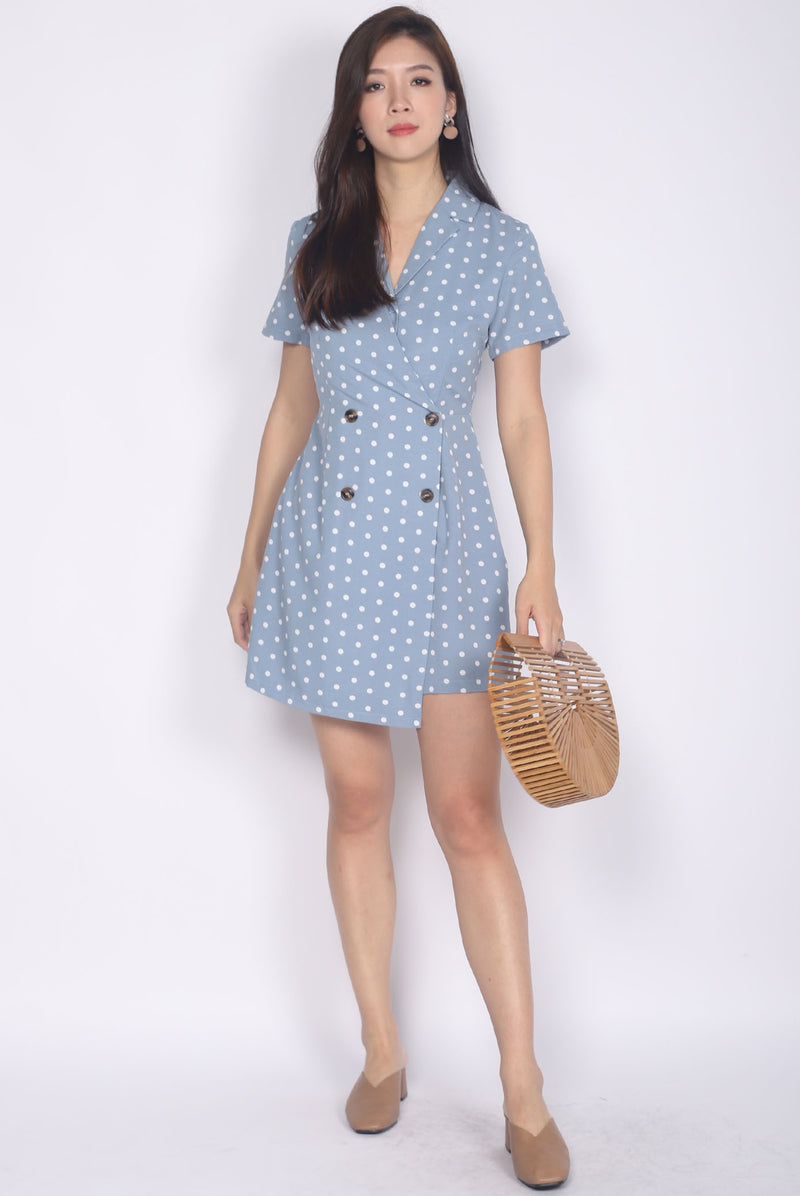 Halley Buttons Sleeved Romper In Blue Dots