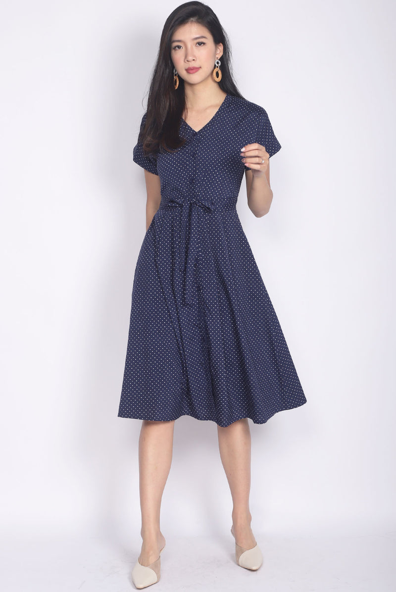Hamest Polkadot Drawstring Dress In Navy Blue