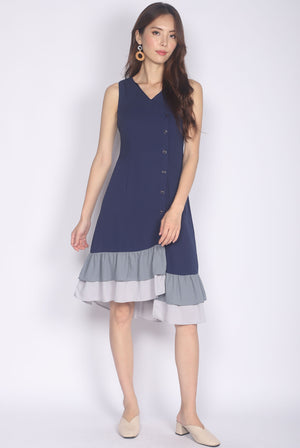 Hamutal Tiered Colour Hem Dress In Navy Blue
