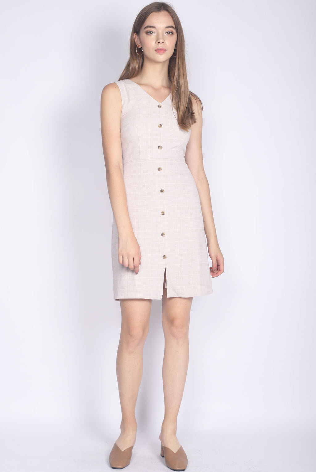 Hannah Plaids Buttons Dress In Nude