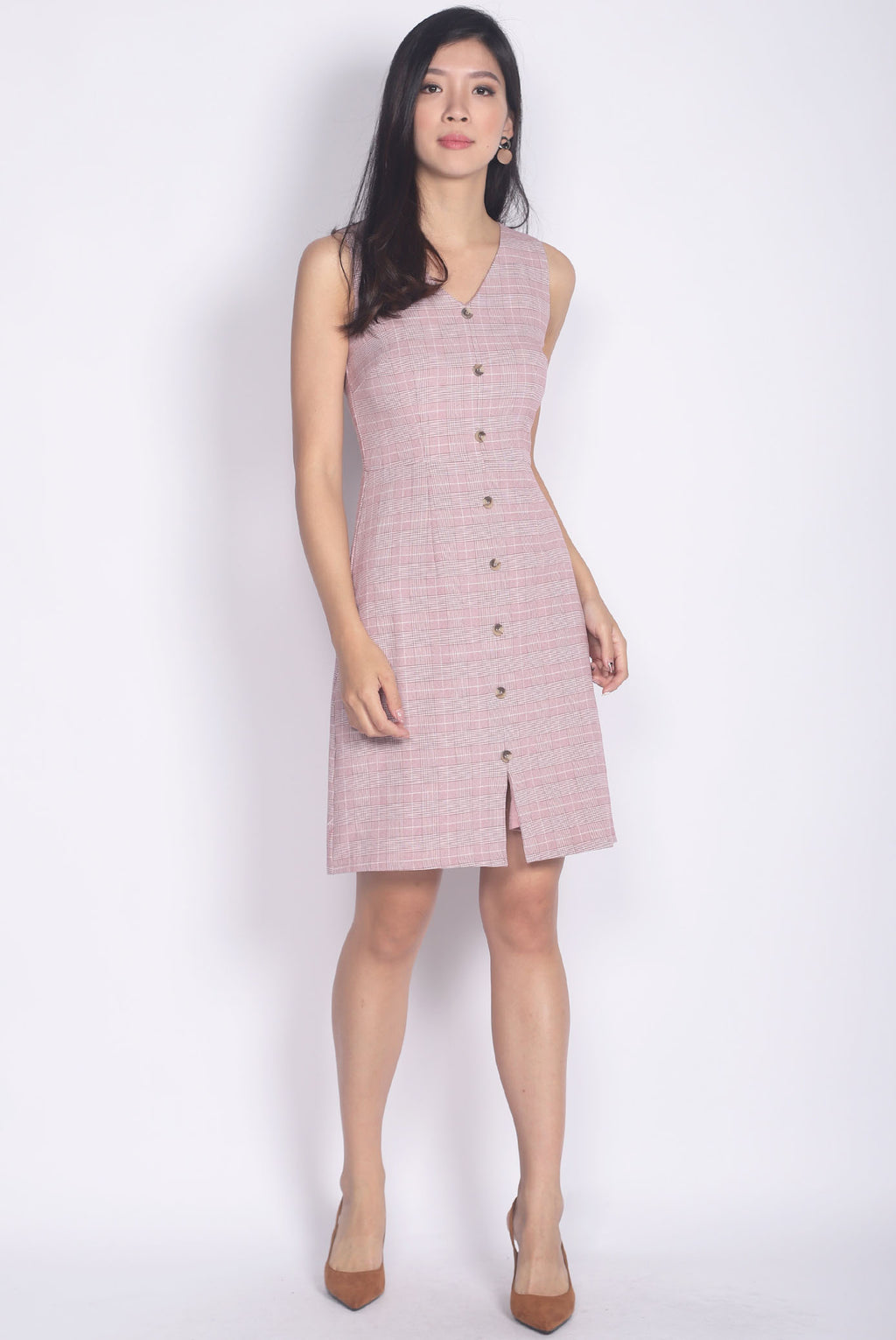 Hannah Plaids Buttons Dress In Pink