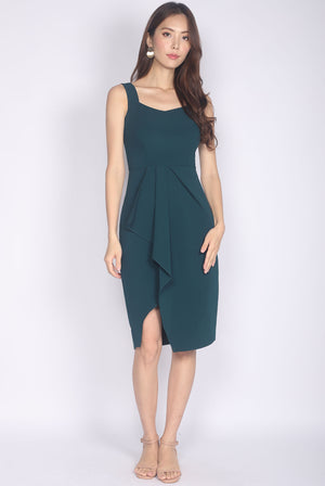 *Premium* Hannie Pleated Slit Work Dress In Forest Green