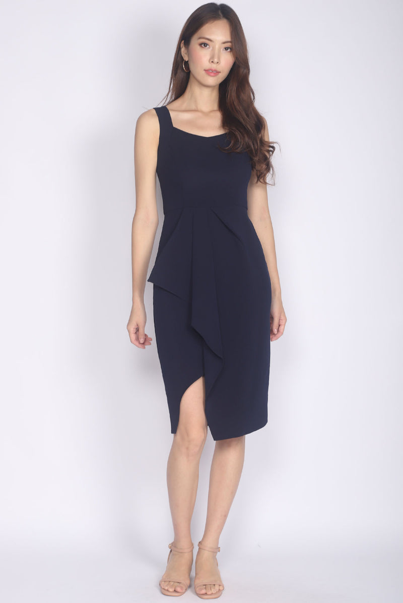 *Premium* Hannie Pleated Slit Work Dress In Navy Blue