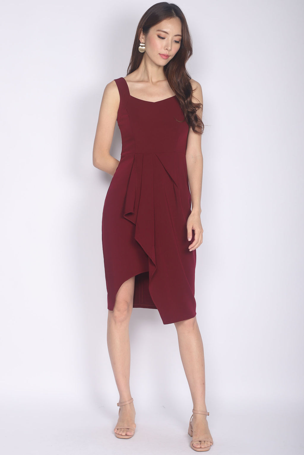*Premium* Hannie Pleated Slit Work Dress In Wine Red