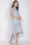 Hara Floral Drop Hem Dress In Ash Blue