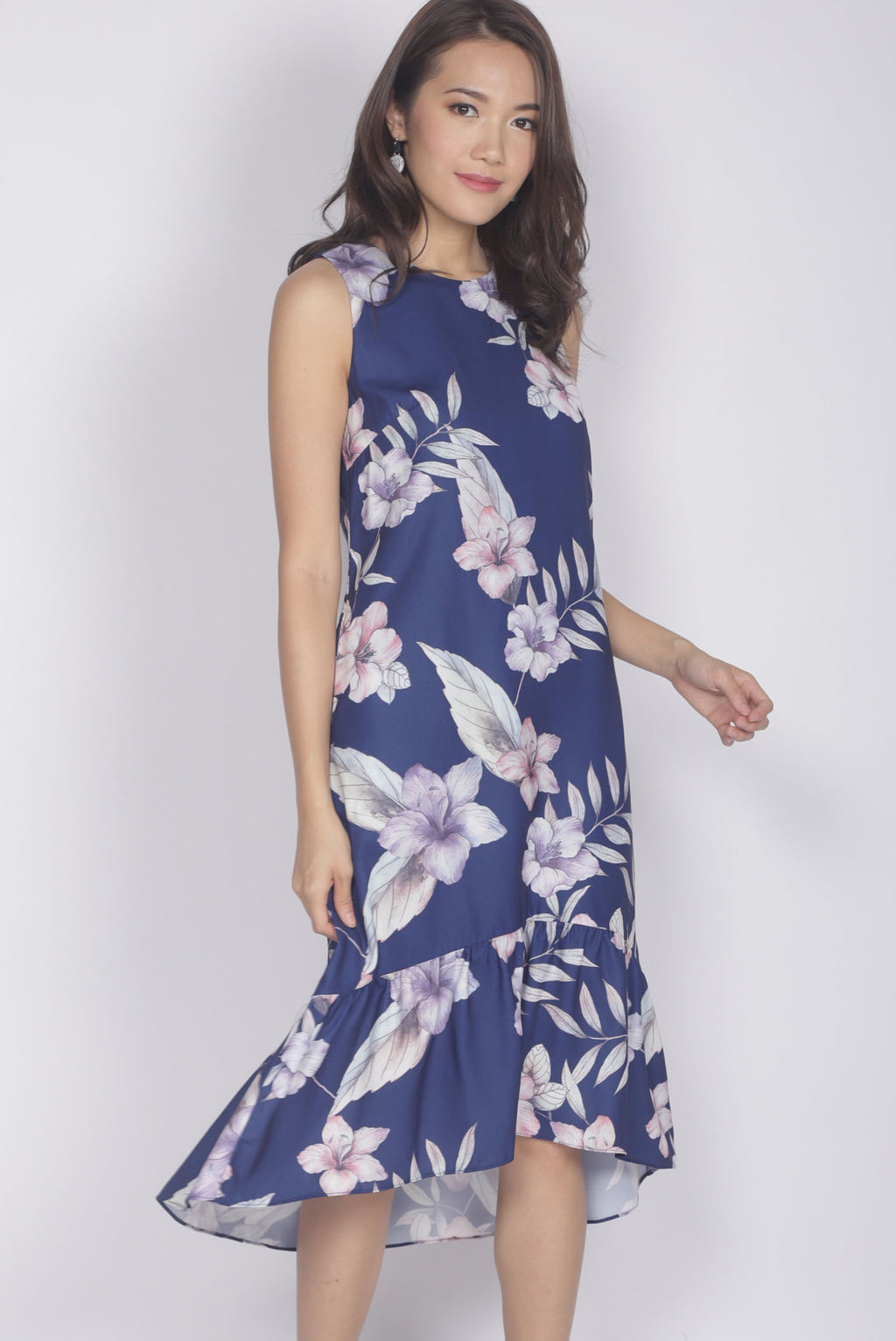 Hara Floral Drop Hem Dress In Navy Blue