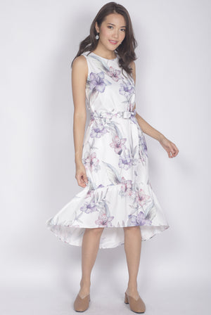 Hara Floral Drop Hem Dress In White