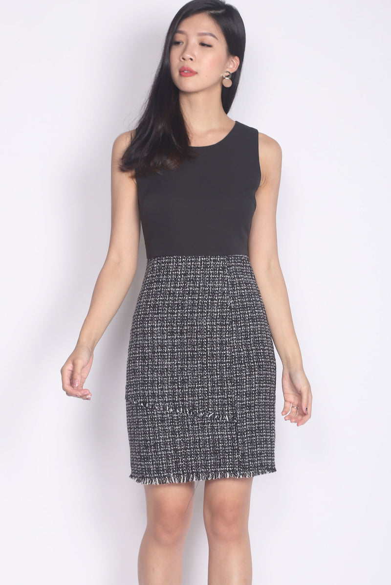 Haris Tweed Block Work Dress In Black