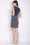 Haris Tweed Block Work Dress In Navy Blue