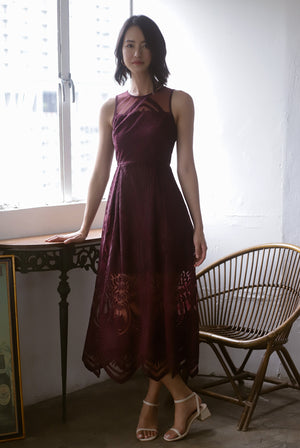 Harleigh Embro Mesh Dress In Deep Wine
