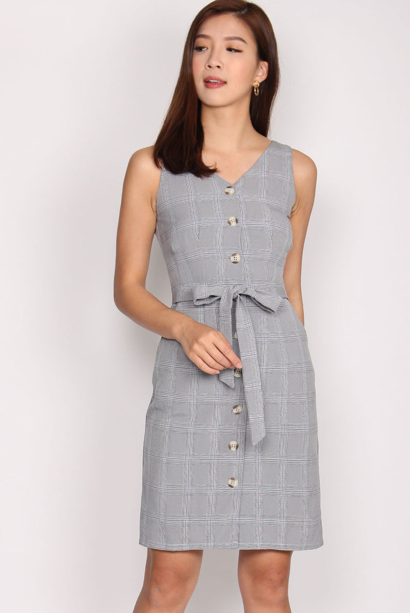 Harlow Button Up Plaids Dress In Dark Grey