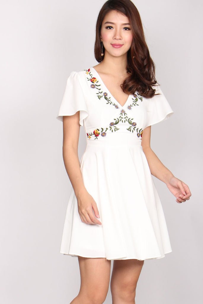 Harmony V Neck Embroidery Dress In White