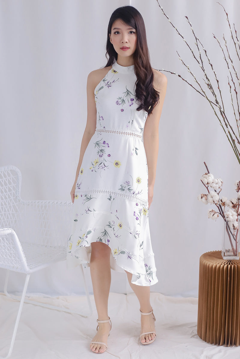 Harper Floral Halter Drop Hem Dress In White