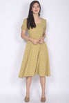 Harriette Poof Sleeve Midi Dress In Mustard Dots