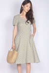 Harriette Poof Sleeve Midi Dress In Sage Dots
