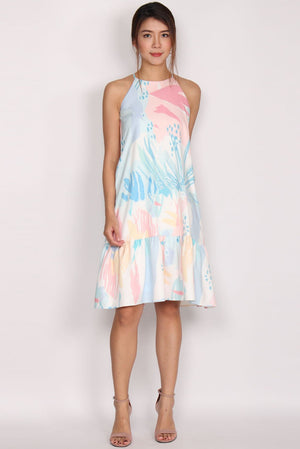 Haven Leaves Drop Waist Dress In Abstract