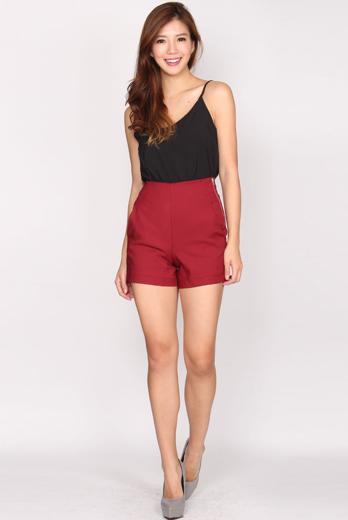 Hayley High Waist Shorts In Wine Red