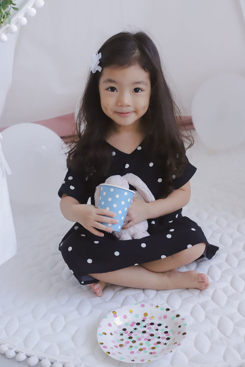 *Kids* Haylie Polkadot Cuff Sleeve Dress In Black