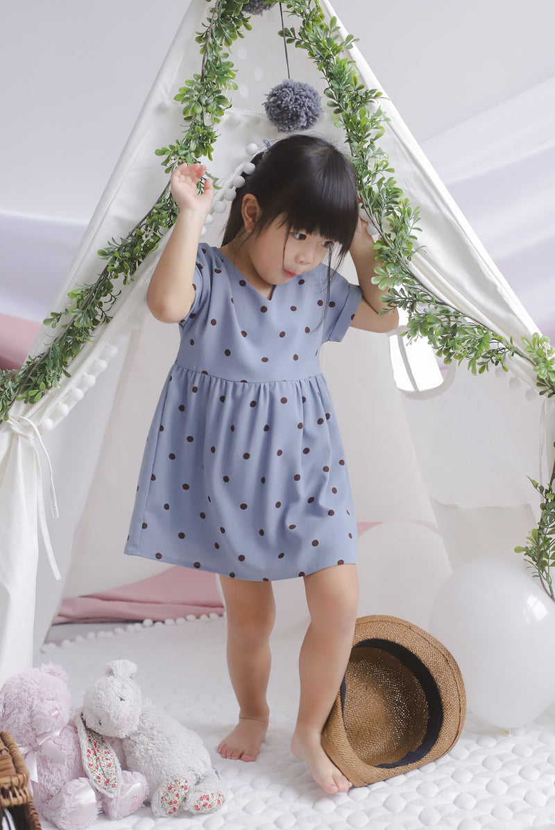 *Kids* Haylie Polkadot Cuff Sleeve Dress In Blue
