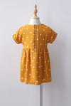 *Kids* Haylie Polkadot Cuff Sleeve Dress In Mustard