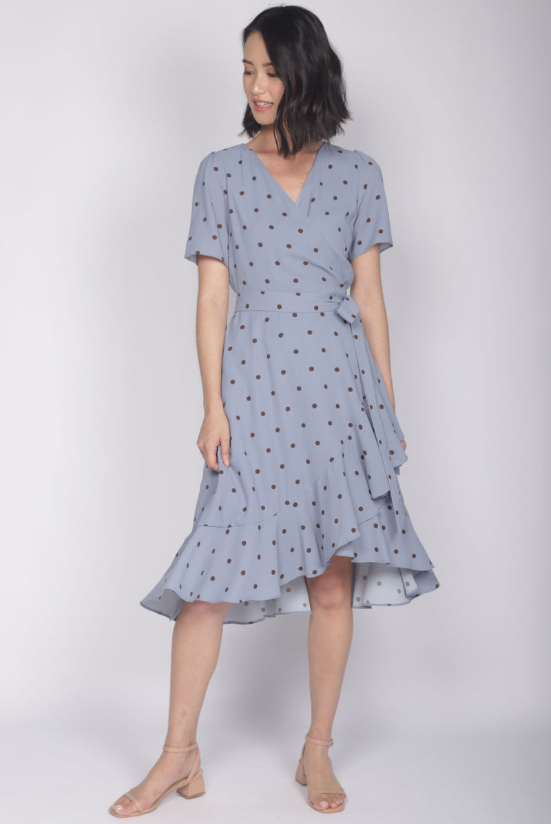 Haylie Polkadot Wrap Dress In Blue