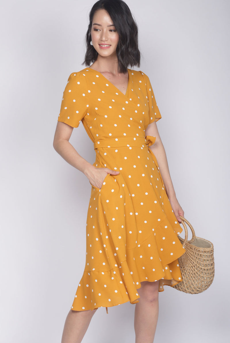 *Restocked* Haylie Polkadot Wrap Dress In Mustard