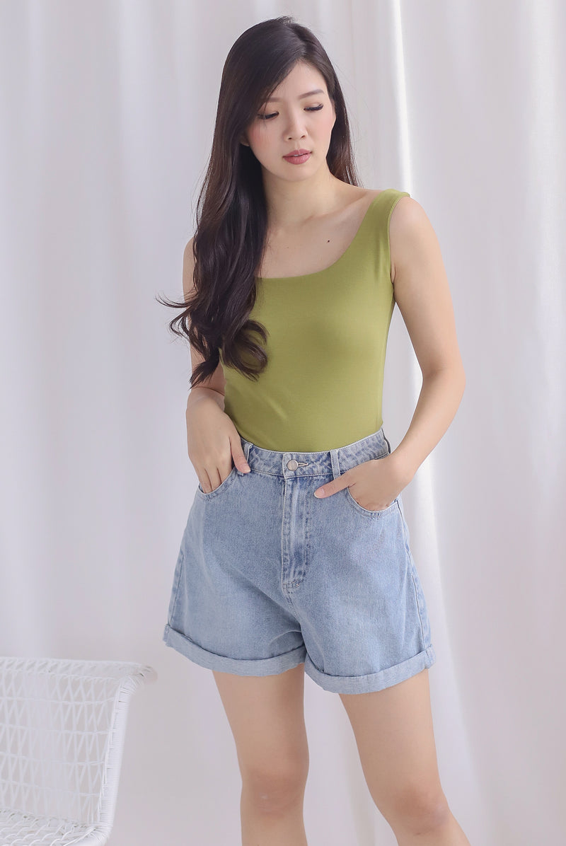 Hazelle Round Neck Tank Top In Apple Green