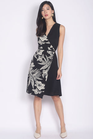 Hekima Leaf Block Wrap Dress In Black