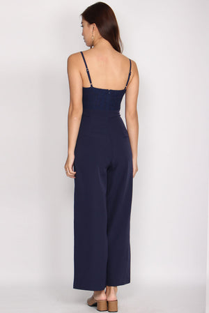 Helga Lace Jumpsuit In Navy Blue