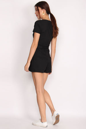 Helile Sleeved Skort Romper In Black
