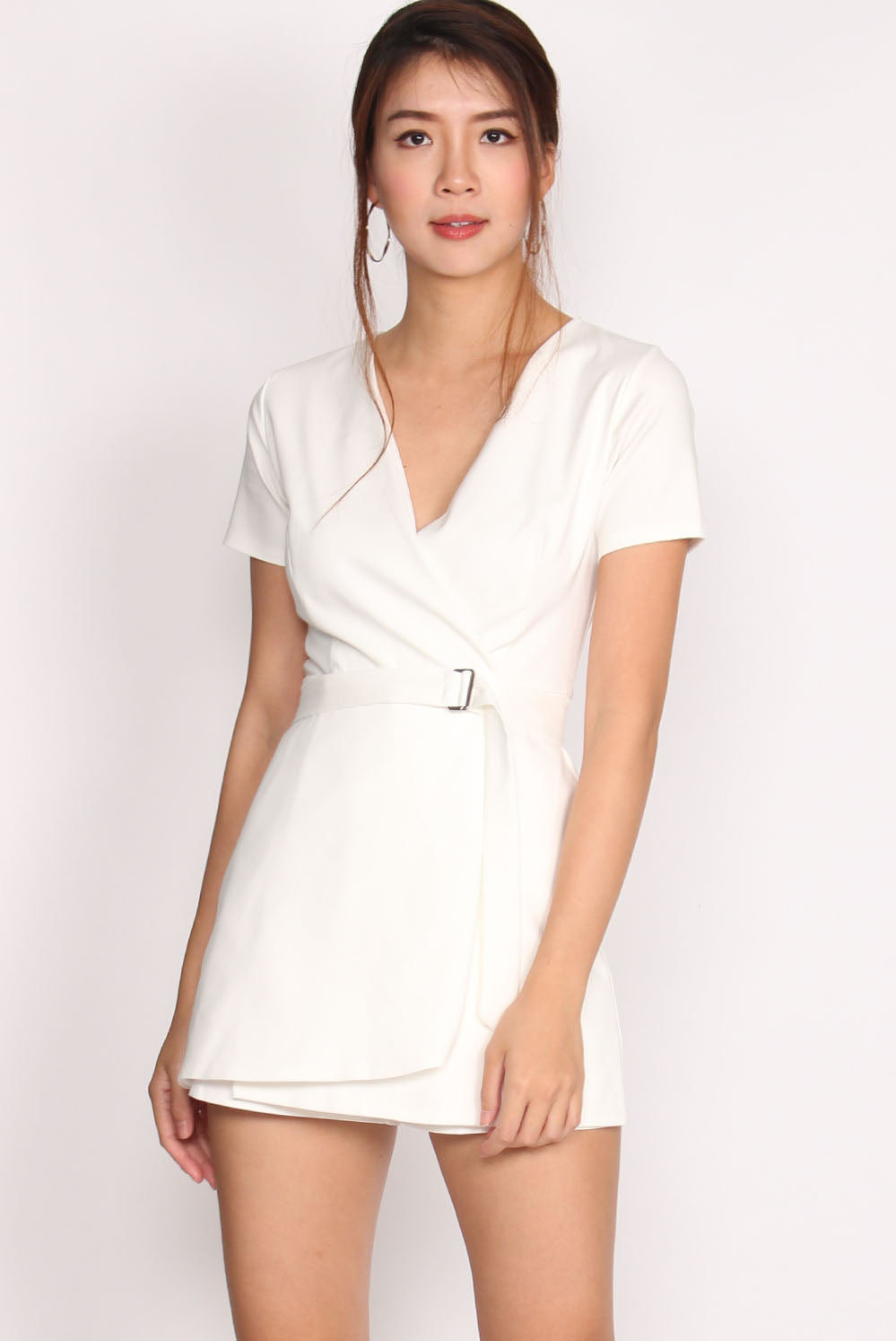 Helile Sleeved Skort Romper In White