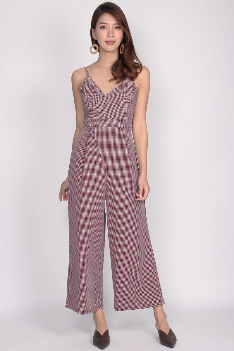Heloise Gingham Jumpsuit In Wine Red