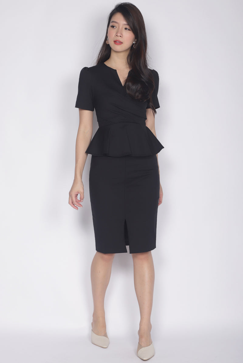 Helyn Sleeved Peplum Dress In Black