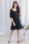 Henria Puffy Sleeve Drop Hem Dress In Black