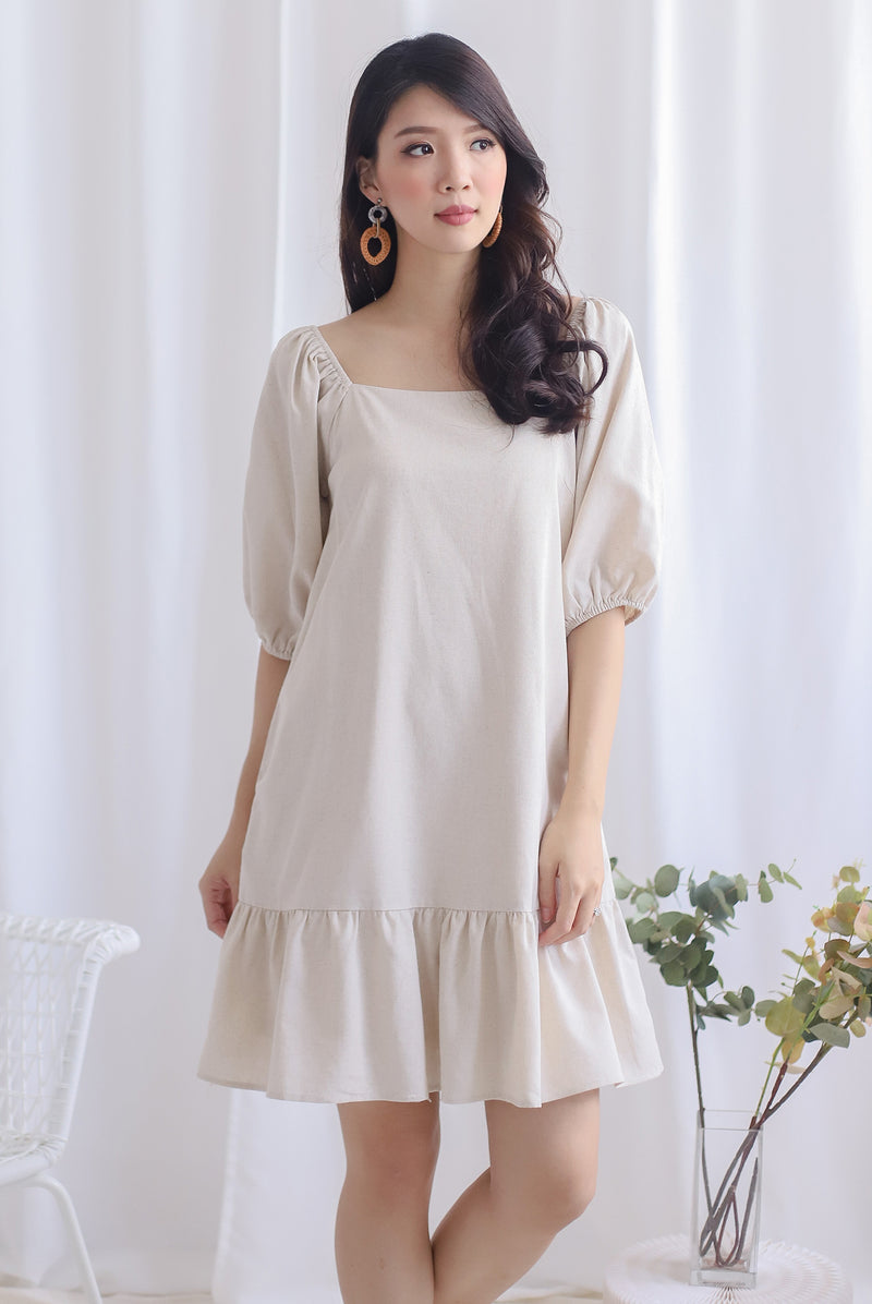 Henria Puffy Sleeve Drop Hem Dress In Oats