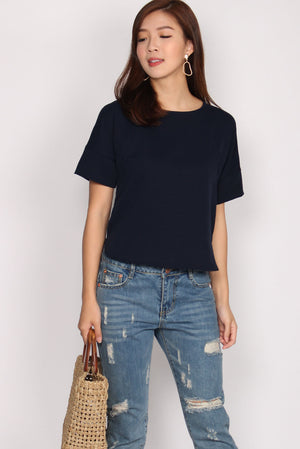 Henya Sleeved Top In Navy Blue