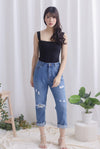 Delphine Ripped Boyfriend Jeans In Dark Wash