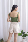 Hera Square Neck Bodysuit In Olive
