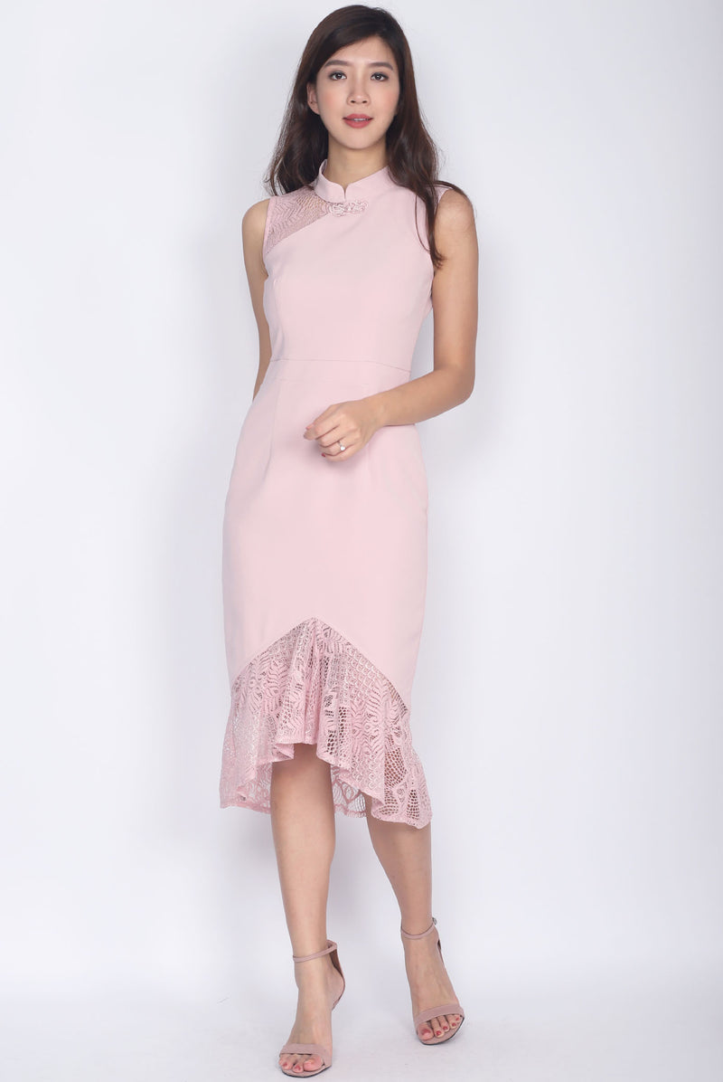 *Premium* Hermila Lace Mermaid Cheong Sam Dress In Blush