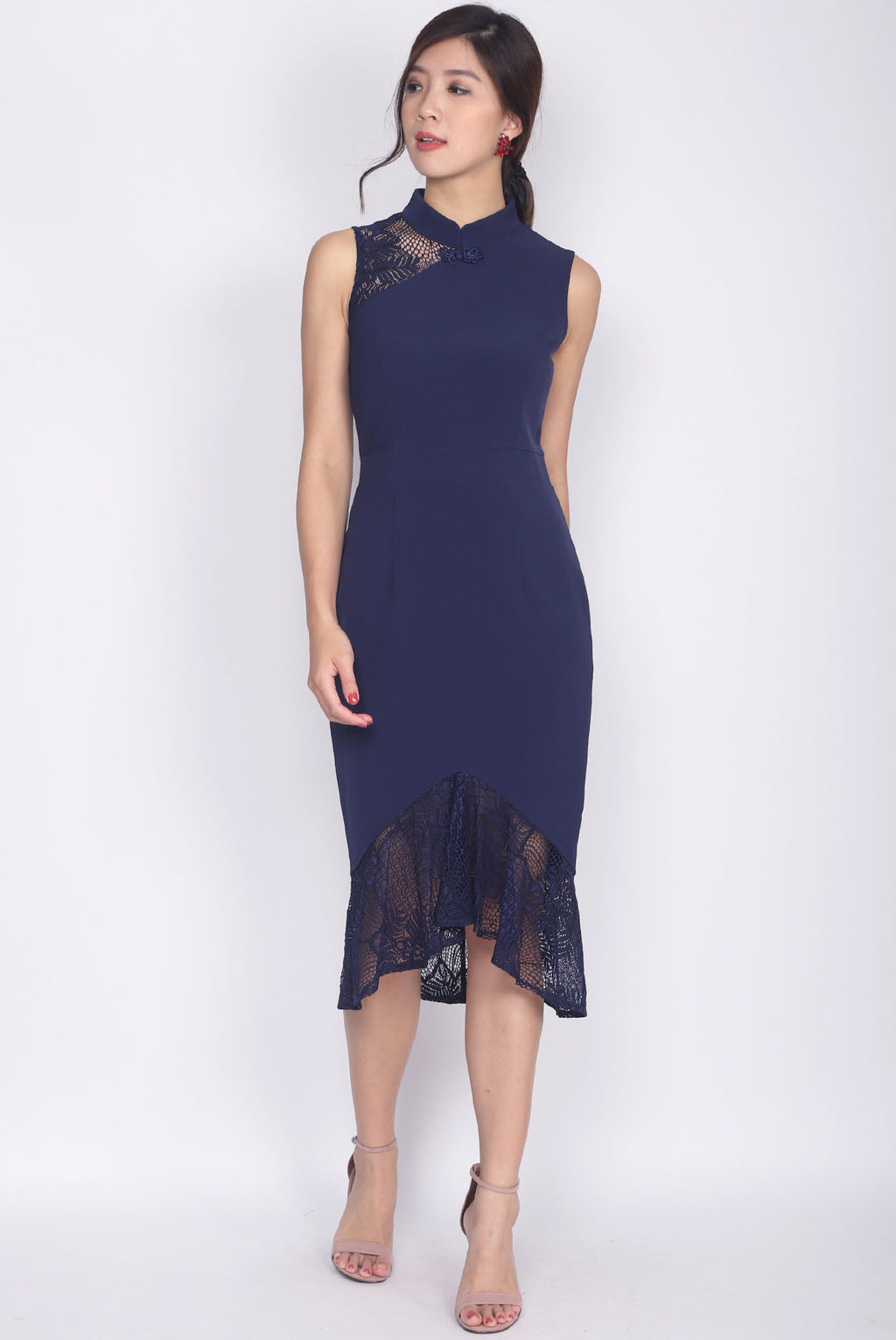 *Premium* Hermila Lace Mermaid Cheong Sam Dress In Navy Blue
