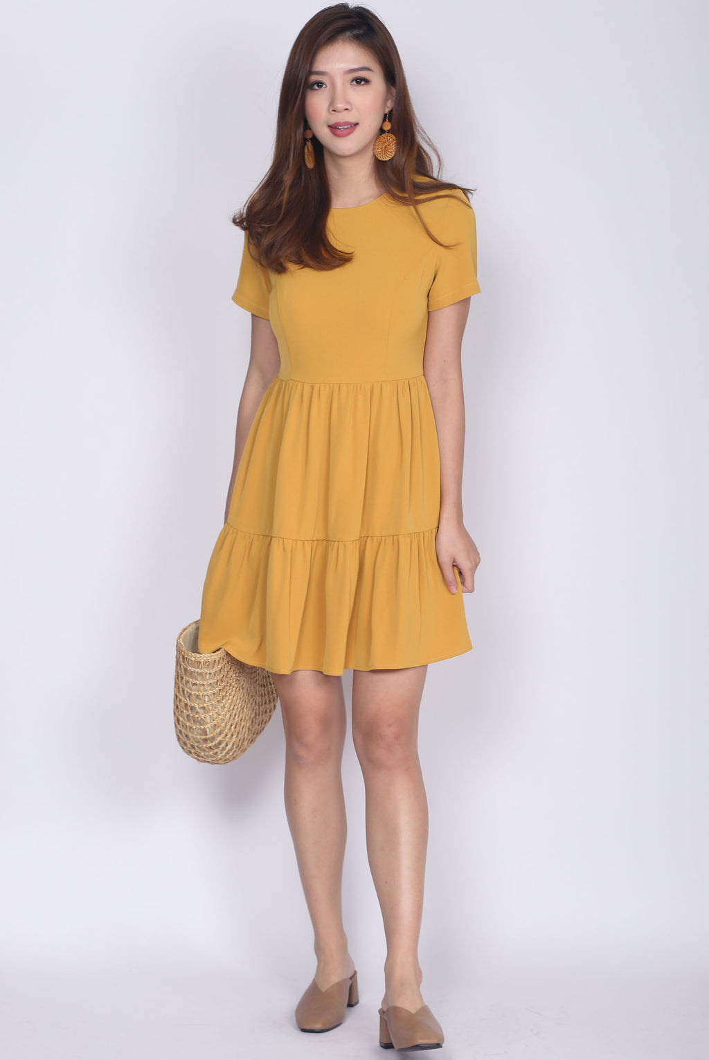 *Restock* Hertha Sleeved Tiered Dress In Marigold