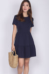 *BACKORDER* Hertha Sleeved Tiered Dress In Navy Blue