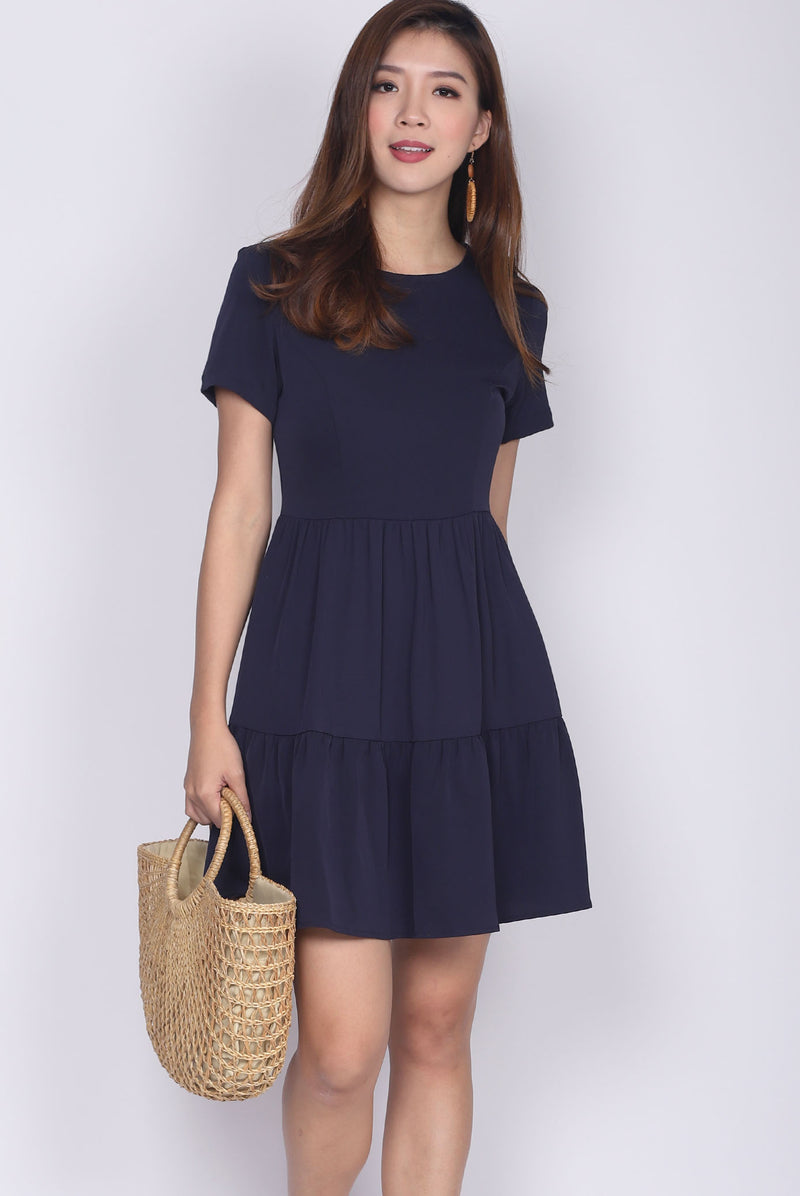 *Restock* Hertha Sleeved Tiered Dress In Navy Blue