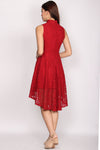Hillary Fishtail Lace Cheongsam Dress In Red