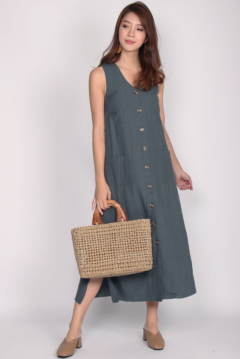 Hinkley Slit Buttons Linen Tank Dress In Forest Green