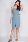 Hollie Buttons Pencil Spag Dress In Jade Blue