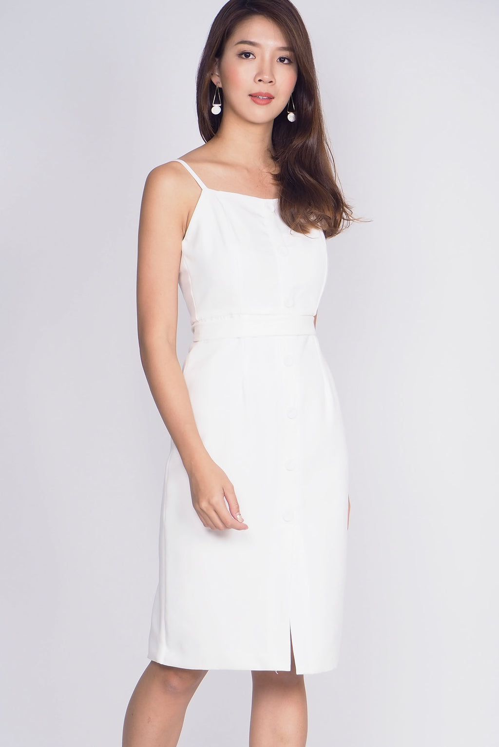 Hollie Buttons Pencil Spag Dress In White