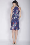 Hollis Floral Mermaid Dress In Navy Blue